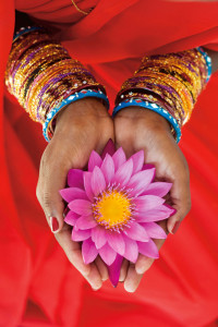 B68J70 Indian woman offering a lotus flower in a red sari. Image shot 2008. Exact date unknown.